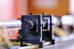 Red laser in laboratory Royalty Free Stock Photos