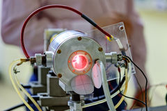 Red laser in laboratory Stock Photography