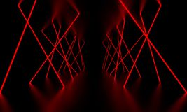 Red laser light glow in the dark room. 3D Illustration.  royalty free stock image