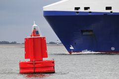Red lateral buoy Stock Image