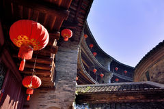 Red latern in Earth Castle, South of China Royalty Free Stock Photography