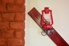 Red latern on the wall Stock Photography