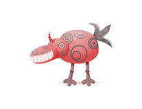 Red laughing cute monster with horn Stock Photography
