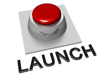 Red Launch Push Button. 3D red and silver button with the word Launch Royalty Free Stock Image