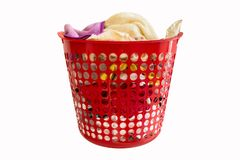 A Red Laundry Basket royalty free stock images
