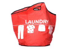 Red Laundry carry bag cut out Royalty Free Stock Photography