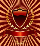 Red laurel shield. Vector red shield with laurel Stock Images