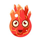 Red Lava Element Egg-Shaped Cute Fantastic Character With Big Eyes Vector Emoji Icon Stock Photo
