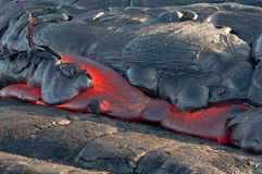 Red Lava flow. Creation of earth, lava flow. Hawaii Volcanoes National Park. Big Island, Hawaii Royalty Free Stock Image
