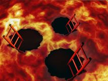 Welcome to hell. The entrance to hell for sinners. In the red lava there are three black holes into which stairs descend, this is the entrance to hell for vector illustration
