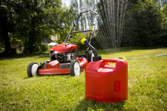 Red Lawn Mower Royalty Free Stock Photography