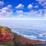 Red Layered Cliffs Of Scotland`s South-East Coast Stock Photography