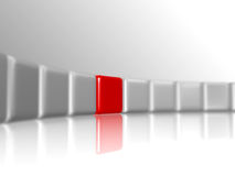 Red leader. Row of 3d white-grey cubes with one red in the middle Royalty Free Stock Photos