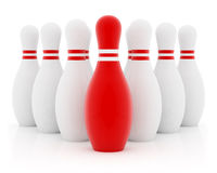 Red leader. Ten bowling pins on white background Royalty Free Stock Images