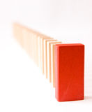 The red leader. Queue of block with red leader, conceptual image Royalty Free Stock Photography