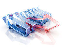 Red leader arrow of glass business concept team. 3d render illustration Stock Photo