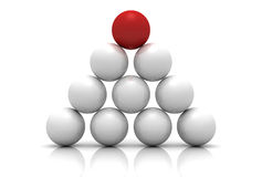 Red leader ball of white teamwork concept pyramid. 3d Royalty Free Stock Image