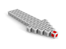 Red Leader Block of Big Arrow Moving Forward. Leadership Concept Royalty Free Stock Photo