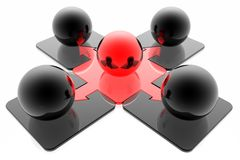 Red leader and business team Royalty Free Stock Photo