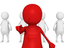 Red Leader Businessman Of Team Group. Volunteers Recruitment. 3d Render Illustration Stock Photos