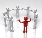 Red leader of the circle. Circle of people holding hands led by a leader in red. 3D rendered image Royalty Free Stock Image