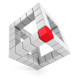 Red leader cube of abstract cube structure. leadership concept Stock Photography