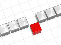 The red leader in front of the row. Row of 3d white-grey cubes with one red in the middle Royalty Free Stock Images