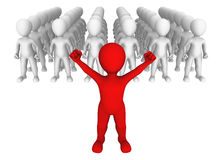 Leader. 3d small people. stock illustration