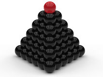 Red leader pyramid of spheres concept Stock Images