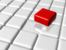The red leader on top of the group. Arranged 3d white-grey cubes with one red on top of the group Royalty Free Stock Images