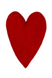 Red leaf shaped like a heart. On a white background Royalty Free Stock Photo