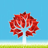 Red leaf tree. Vector illustration of a stylized red leaf tree with green grass and textured blue horizon sky Royalty Free Stock Photo
