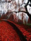 Red leafs. Impressionist autumn scene. Red leafs royalty free stock photo