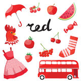 Red. Learn the color. Education set. Illustration of primary colors. Vector illustration Royalty Free Stock Photo