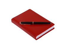 Red  leater notepad and  business pen Royalty Free Stock Image