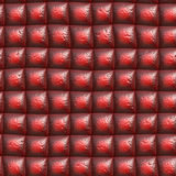 Red leather. Worn out dark red upholstery for background Stock Photos