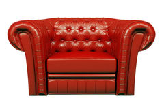 Red leather armchair 3d. Red leather armchair isolated over the white 3d Royalty Free Stock Photos