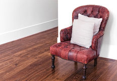 Red leather armchair Stock Images