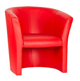 Red leather armchair isolated on white Royalty Free Stock Image