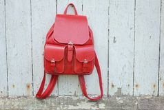 Red leather backpack Stock Photos