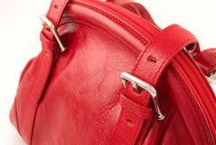Red leather bag. Red leather women handbag Stock Photography