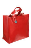 Red leather bag. On a white background Royalty Free Stock Images