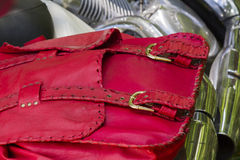Red leather bag Stock Images