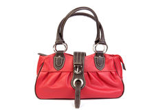 Red leather bag front Royalty Free Stock Images