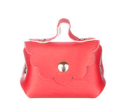 Red leather bag isolated on white Royalty Free Stock Photos
