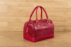 Red leather bag for woman Stock Photo
