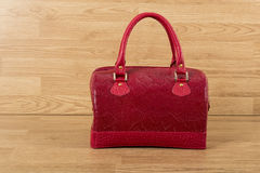 Red leather bag for woman Stock Photography