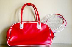 Red leather bags and sports Stock Photography