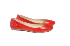 Red leather ballet flats Royalty Free Stock Images
