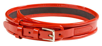 Red leather belt. Isolated on white background with clipping path Stock Image
